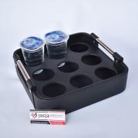 Exclusive Tatakan Aqua Gelas / Tempat Aqua Air Mineral Kulit Hitam