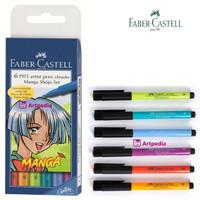 FABER CASTELL 6 PITT Artist Pens Brush Manga Shojo Set