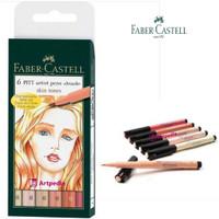 Faber Castell Pitt Artist Pen Brush Set 6 Skin Tones / Set Wallet of 6