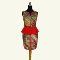 Modern Esther Batik Dress - Modern Batik Pesta - Modern Batik Merah