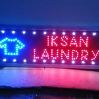 tulisan lampu led outdor / outdor led sign iksan laundry + gambar baju