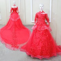 GOWN MENAWAN ORGANZA RED FLOWER CANTIK / GAUN PESTA RESEPSI WEDDING