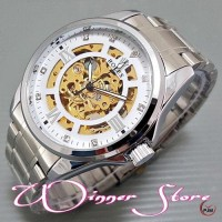 Pomo !!! Jam Tangan Pria / Cowok Rolex Skeleton Auto Matic Winner