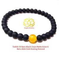 Gelang Tasbih 33 Batu Black Onyx Matte 6mm dan Batu Akik Giok Kuning