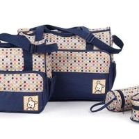 259  Tas Bayi Polkadot  Travelling Bag 5 In 1 Multifungsi Diaper Bag