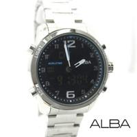 PROMO Jam Tangan Pria / Cowok Alba Dual Time SK801 Rantai Silver Black