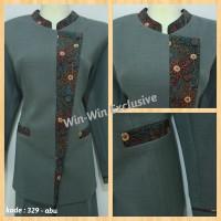 Setelan Blazer Baju Kerja Kantor Wanita Abu Abu (Rok atau Celana)