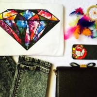 diamond tee branded kaos wanita tumblr hot pants jegging bra cd tas M