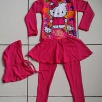 RNKD16 - Baju Renang Anak Muslim Hello Kitty Pink MURAH
