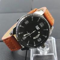 jam tangan pria tali cokelat coklat merek cat elegan merk branded kw