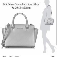 MK SELMA SATCHEL MEDIUM SILVER