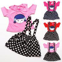 baju setelan anak bayi perempuan kaos sabrina rok polkadot