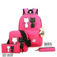 Tas Ransel 4 In 1 Motif Kucing Berduaan Untuk Kuliah /Hadiah - Merah