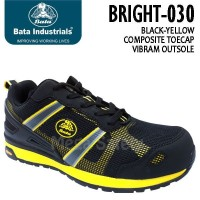 Sepatu Safety Shoes Bata Bright 030 Black Yellow Sporty Casual Classic