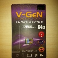 MicroSD V-GeN Turbo 64GB Class 10 Micro SD VGEN Memory HP 64 GB NA