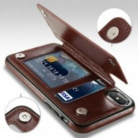 Leather Smartphone Case with Mini Wallet for iPhone X - Brown