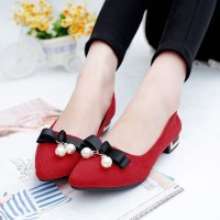 Sepatu Flat Shoes Wanita Pita Mutiara Merah Sepatu Fashion Wanita 7bbe7372fe