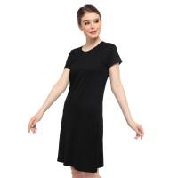 Lemone - Baju Dress Kaos Wanita Premium KAE100097 Hitam