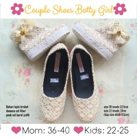 couple shoes mom n kids / sepatu couple queen gold