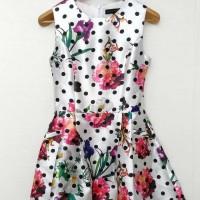 Solemio White Flower Polkadot Dress Polyester