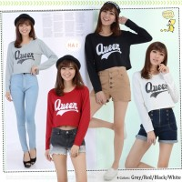 MichelleStore KAOS WANITA CROP TOP QUEEN LONG SLEEVE