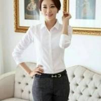 BAJU WANITA ATASAN Fashion Wanita Atasan Kemeja Putih Polos/Kemeja