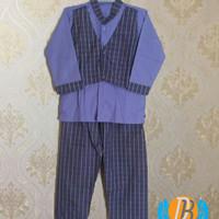 baju muslim untuk ukuran anak TK / Paud, warna ungu motif kotak kotak