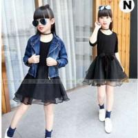 Dress baju anak perempuan dengan rok tutu 3in1 korean style