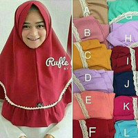 Jual hijab simple pet renda rempel rufle antem jilbab instan dayli cantik Murah