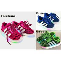 Sepatu Nyala Sepatu Lampu Sepatu LED Anak STRIPES KNIT SHOES