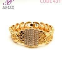 Gelang Plat Lapis emas Motif permata Perhiasan imitasi 18k Yaxiya 431