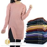 Slit sweater   sweater rajut   baju rajut   pakaian wanita   rajutan