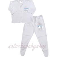 Miyo putih set baju panjang dan celana tutup kaki sz 0-3m