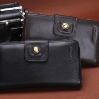 dompet pria impor wallet original cowhide zipper& hasp original