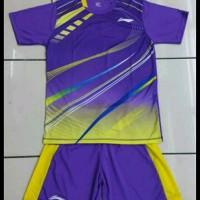Baju Kaos Setelan Badminton Dewasa Lining L.19 Ungu