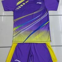 Baju Kaos Badminton Stelan Dewasa Lining L.19 Ungu