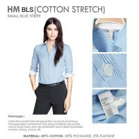 BAJU WANITA HM Stripe Sky Blue Office Shirt   Kemeja Kantor Lengan