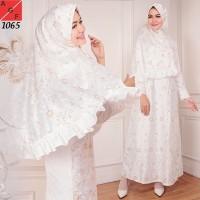 Baju Gamis Wanita / Gamis Putih / Muslim Satin #1065 STD -D111