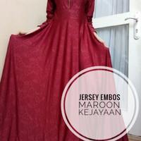 TERLARIS gamis jersey embos Maroon -D158