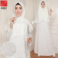 Baju Gamis Wanita / Gamis Jumbo / Muslim Putih #4161 JMB -D128