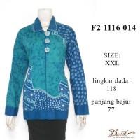 F21116014XXL blus puspa tulis panjang tosca / grosir baju batik murah
