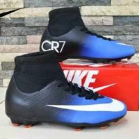 sepatu bola nike cr7 original premium blue black 39-44 import