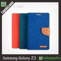 FLIP CASE CANVAS DIARY SAMSUNG GALAXY Z3 FLIP COVER WALLET FLIPCOVER