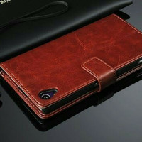 Leather flip cover wallet Sony Experia Z5+ plus premium case casing hp