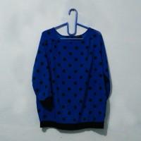 [the executive] blouse preloved biru polkadot hitam baju kerja wanita