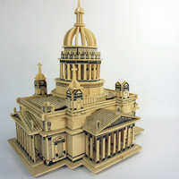 Mainan Edukasi Puzzle 3D Kayu Bangunan Gereja Katedral Issa Kiev