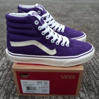 Sepatu Pria Sneakers Kets Cowok Murah Vans SK8 Hi Purple White DT