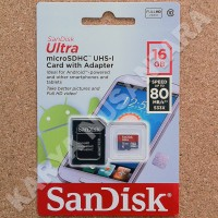 16GB SANDISK ULTRA 80MB/S MEMORY CARD MICROSD MICRO SD + ADAPTER
