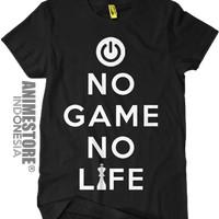 KAOS murah terbaru Baju Kaos NGNL No Game No Life Anime Logo Hitam