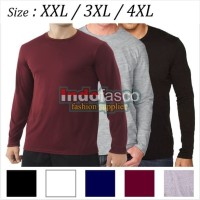 BAJU ATASAN PRIA 3XL / 4XL (XXXL) - Baju kaos polos lengan panjang